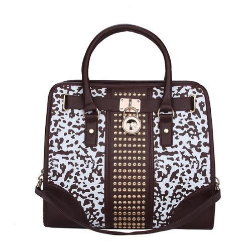 Michael Kors Hamilton Center Studded Large Brown Totes only $71.99