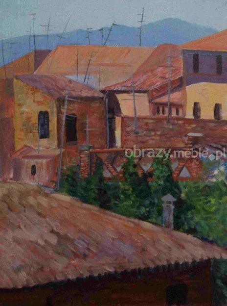 Barga. Obraz ręcznie malowany farbami akrylowymi na płótnie, sygnowany oprawiony.