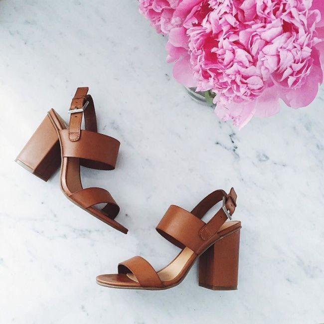 Cognac leather block heel (under $70!)
