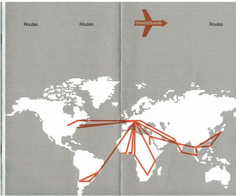 swissair flight route map maps and infographics pinterest. Black Bedroom Furniture Sets. Home Design Ideas