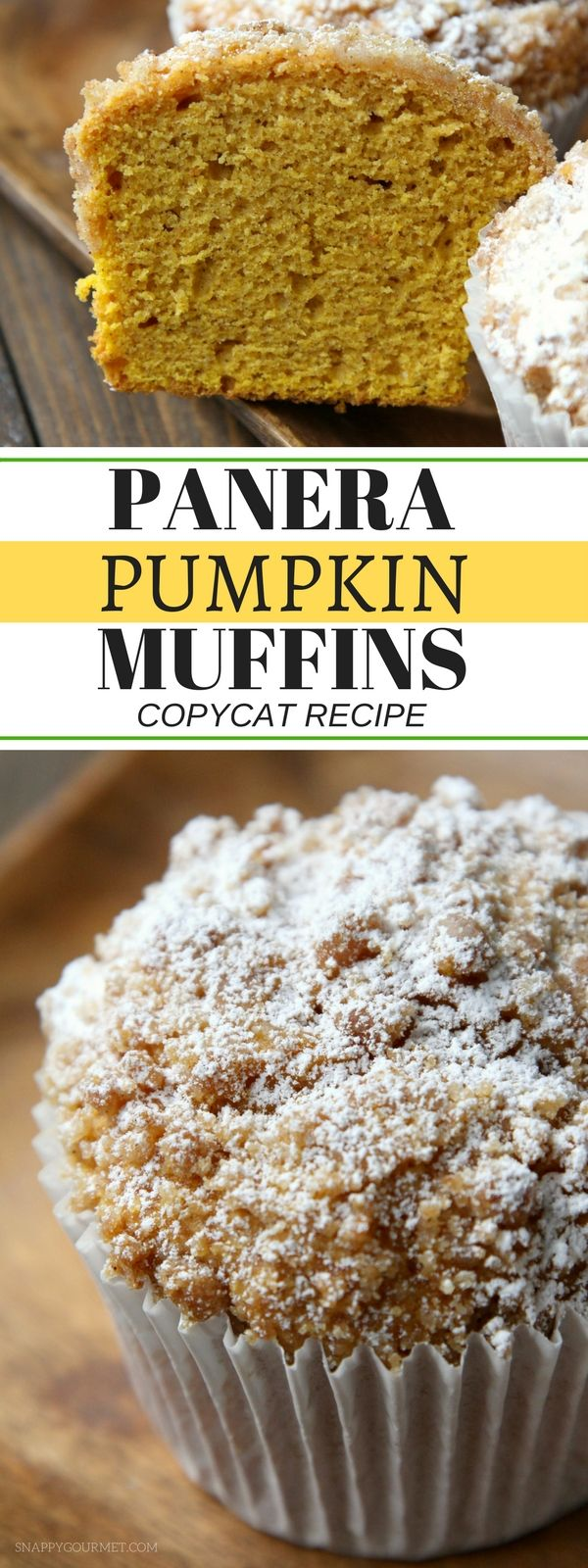 Panera Pumpkin Muffin Recipe - easy copycat recipe for the best moist pumpkin muffins with pumpkin spice and a crumb topping! #Pumpkin #Copycat #SnappyGourmet SnappyGourmet.com