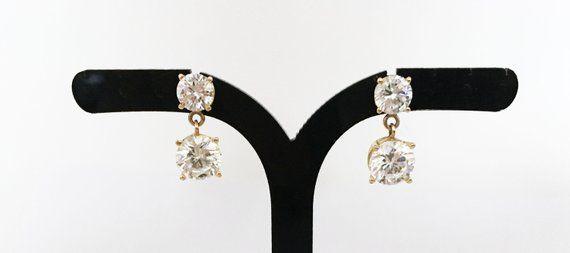 Bridal Wear Vintage Silver Tone Stud Clear Rhinestone Earrings Prom Style Versatile Earrings Faux Diamond Push Back Earrings