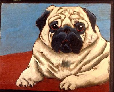 "Pug pyro/acrylic painting (5"" x7"")"