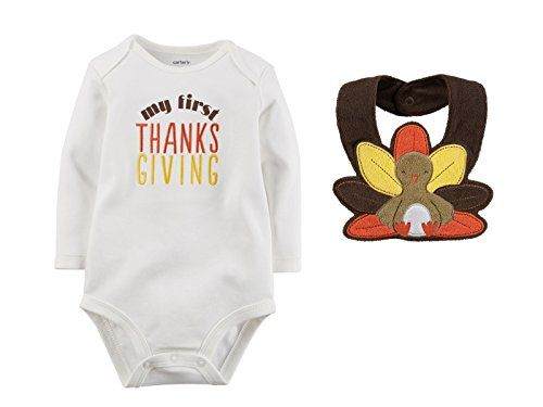 Carters Unisex Baby Girls Boys First Thanksgiving Bodysuit with Turkey Bib Set Newborn -- Check this awesome product by going to the link at the image.Note:It is affiliate link to Amazon.
