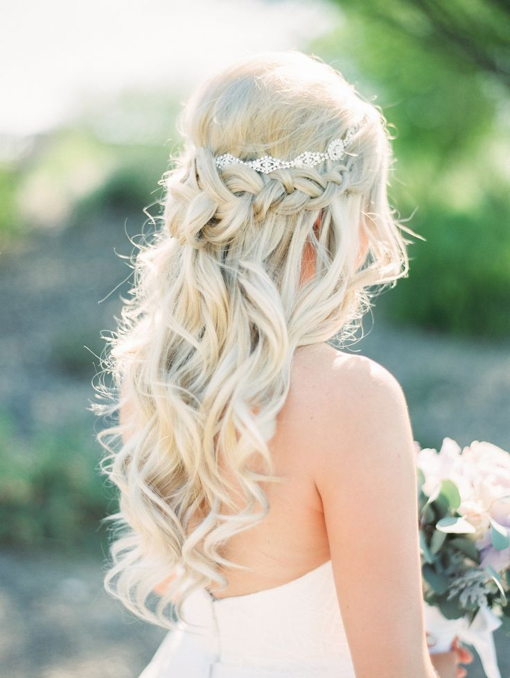 Perfect long blonde curls, bridal hair fit for a princess, diamond headband, braided half up-do // Rachel Solomon Photography