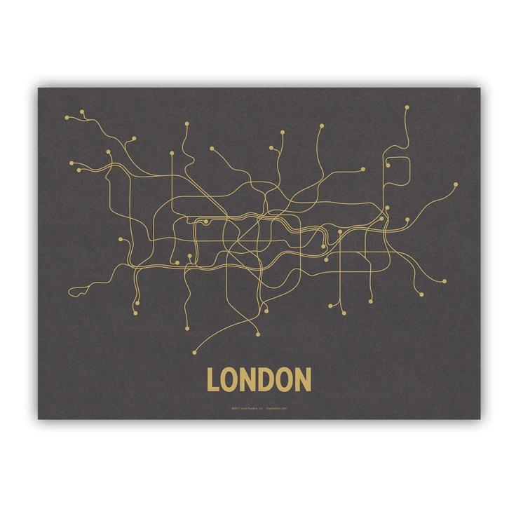 London Lineposter Screen Print - Dark Gray/Mustard. via Etsy.