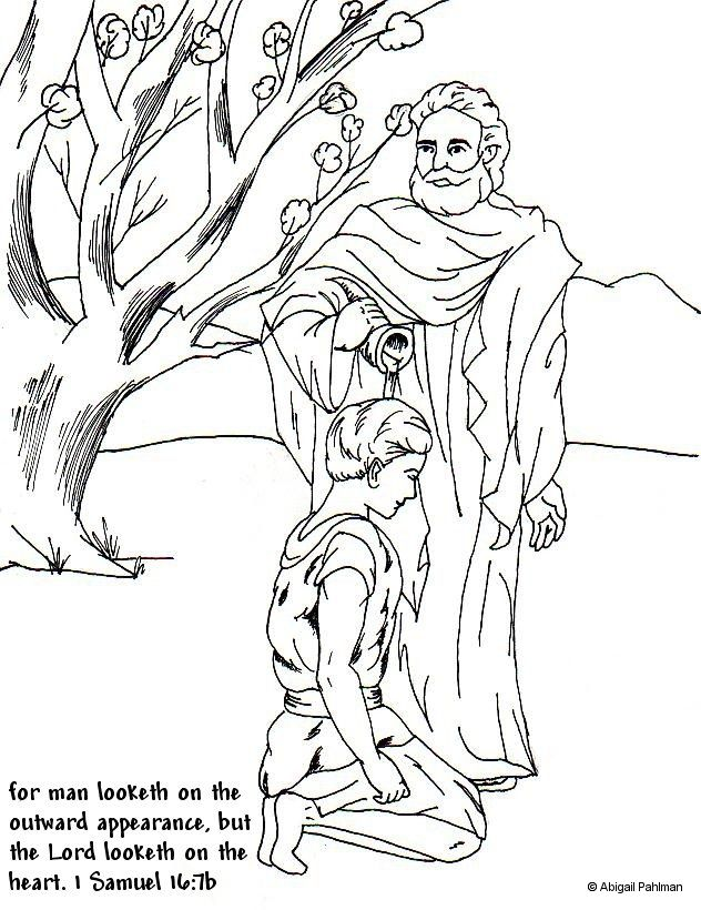 Day 1 Samuel Anoints David Coloring Page With Memory Verse Found In 16 7b