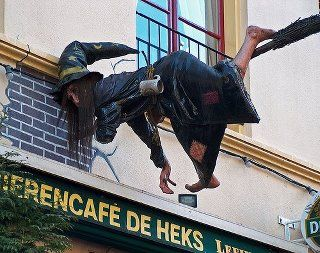 Crash landing in Deventer  When you have had too many drinks in this Café, your head may feel the same as the head of the witch after the crash landing. Deventer is a municipality and city in the Salland region of the Dutch province of Overijssel.