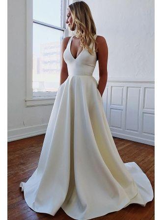 elegante weiße brautkleid a linie  schlichte hochzeitskleider online in 2020  ballkleid lang