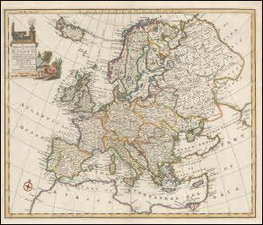 """Europe antique map original. This beautiful vintage map of Europe comes from Navigantium by John Harris printed by E. Bowen in London in 1748. This historic old map of Europe measures 18"""" x 14"""" and has vivid hand coloring printed on one side only."""