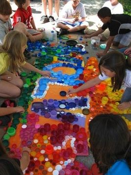 plastic lid murals   Imagination Station Puts a Lid on Trash With Latest Creative Venture ...