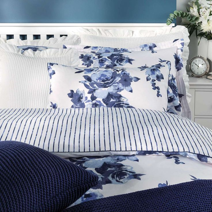 Saria Floral Blue Bed Linen Collection | Dunelm