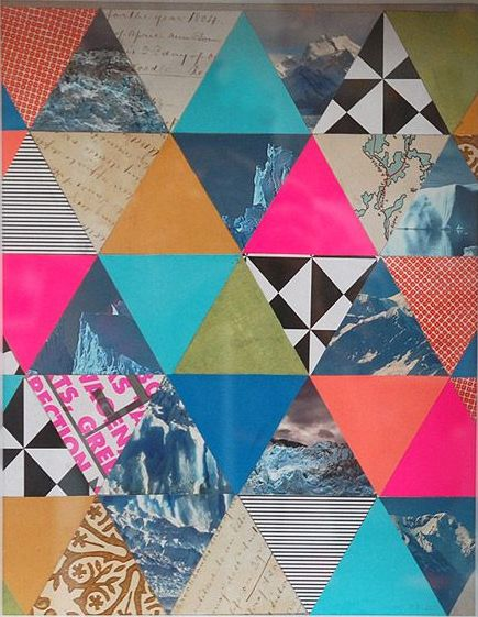 Neon, photos, and pattern triangles. I love how the triangles fit into one another. This reminds me of geometrical prints, I'm Going to take my drawings, enlarge them and put them into each geometrical shape, form them together to make a geometrical print