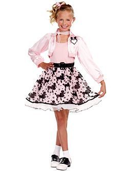 Child Pretty in Poodle Costume | Cheap 50's Halloween Costume for Girls