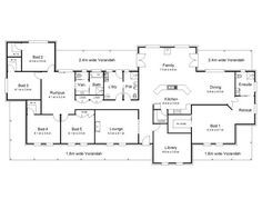 The Bligh « Australian House Plans - 4 beds = 1 bath - I don't think so!!  And I'd swap the library and dining room.
