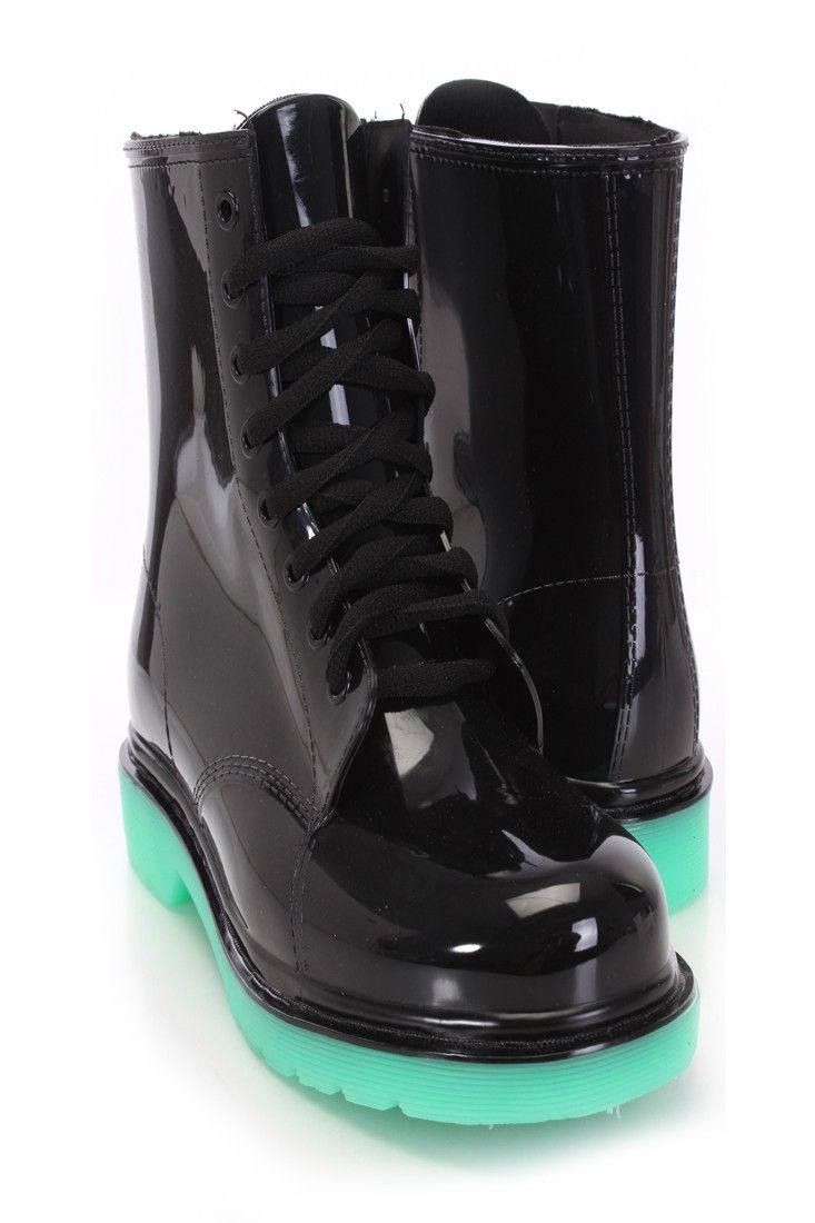 Black Lace Up Rubber Jelly Boots | Shoes! | Boots, Shoes ...