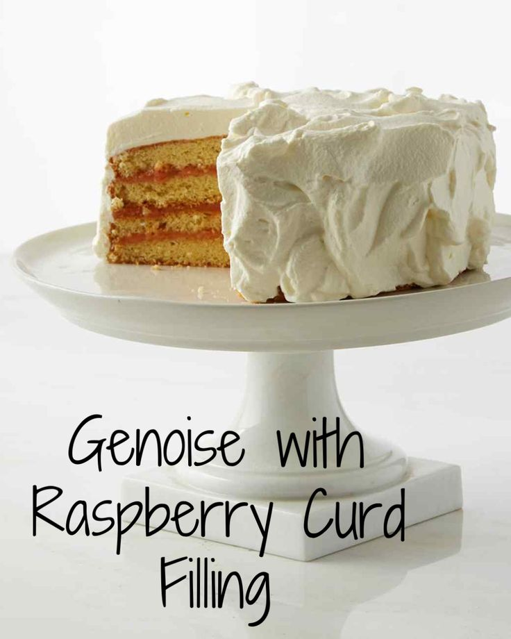 Genoise With Raspberry Curd Filling | Martha Stewart Living - The tart sweetness of the raspberry curd filling balances this buttery-rich, French-style sponge cake. Martha made this recipe on Martha Bakes episode 601.