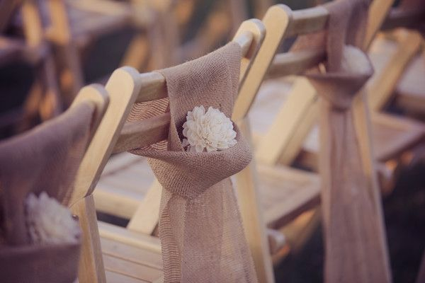 Burlap chair sash with white flower - Ciccone Vineyard & Winery Photos, Ceremony & Reception Venue Pictures, Michigan - Grand Rapids, Kalamazoo, Lansing, and surrounding areas