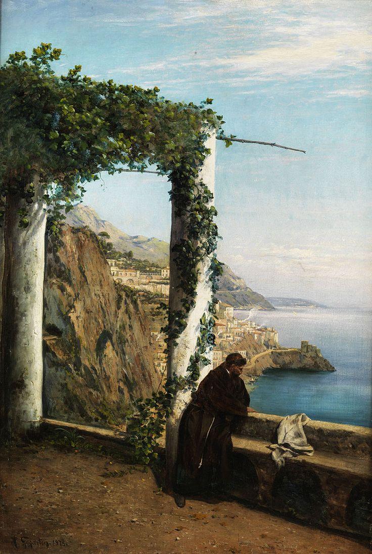 Heinrich Gogarten (1850–1911) Mönch an der Küste von Amalfi.1911