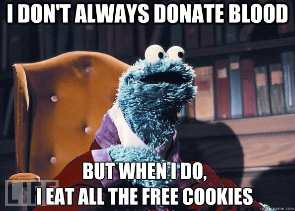 Cookie Monster donates blood.