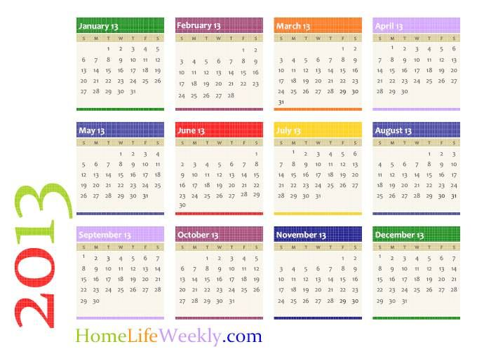Calendar 2013 single page