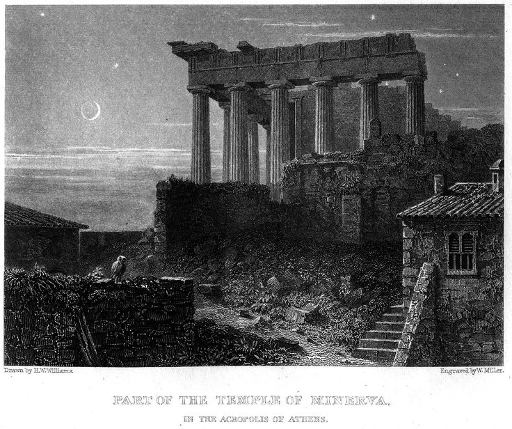 Hugh William Williams (1773-1829)-Temple of Minerva, Acropolis of Athens
