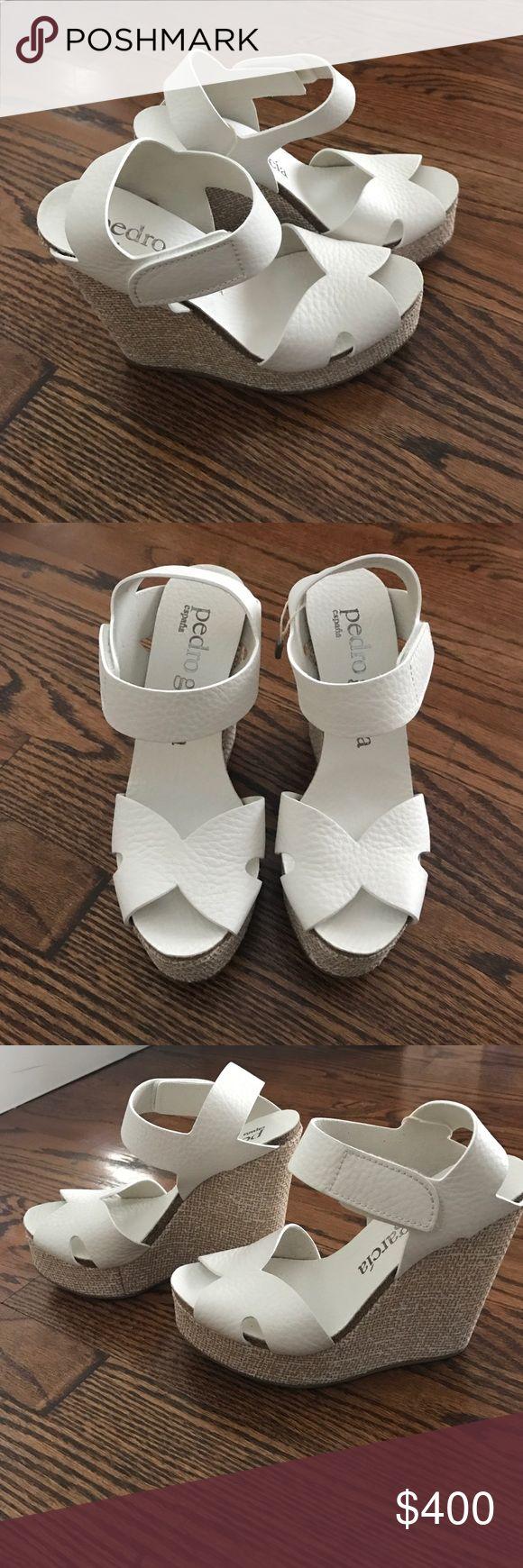 Pedro Garcia espadrilles White leather with tan wedge - Brand New pedro garcia Shoes Espadrilles