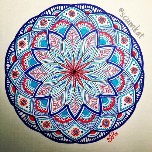 Red and blue mandala Mandala Pinterest Mandala