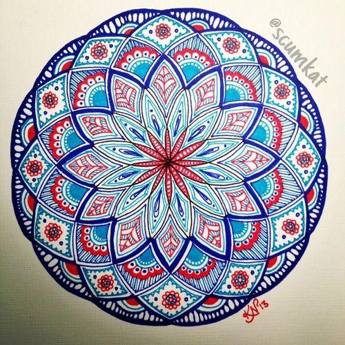 red and blue mandala