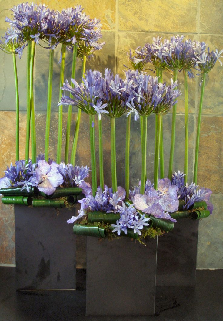 modern flower arrangement for a hotel lobby.  www.helenolivia.com