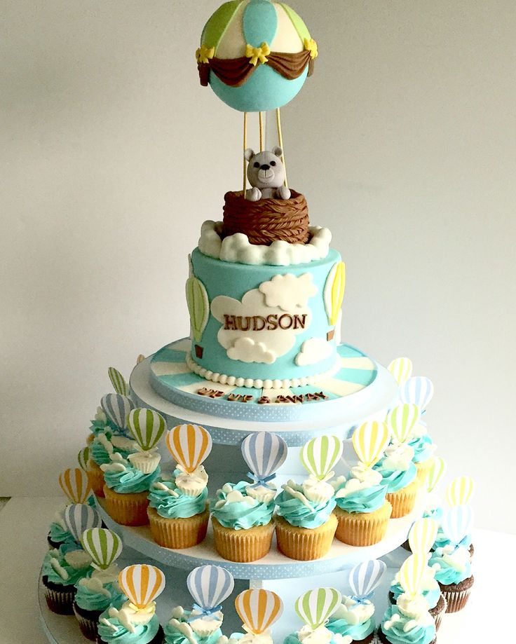 Up Up & away cake & cupcakes. Hot air balloon cake
