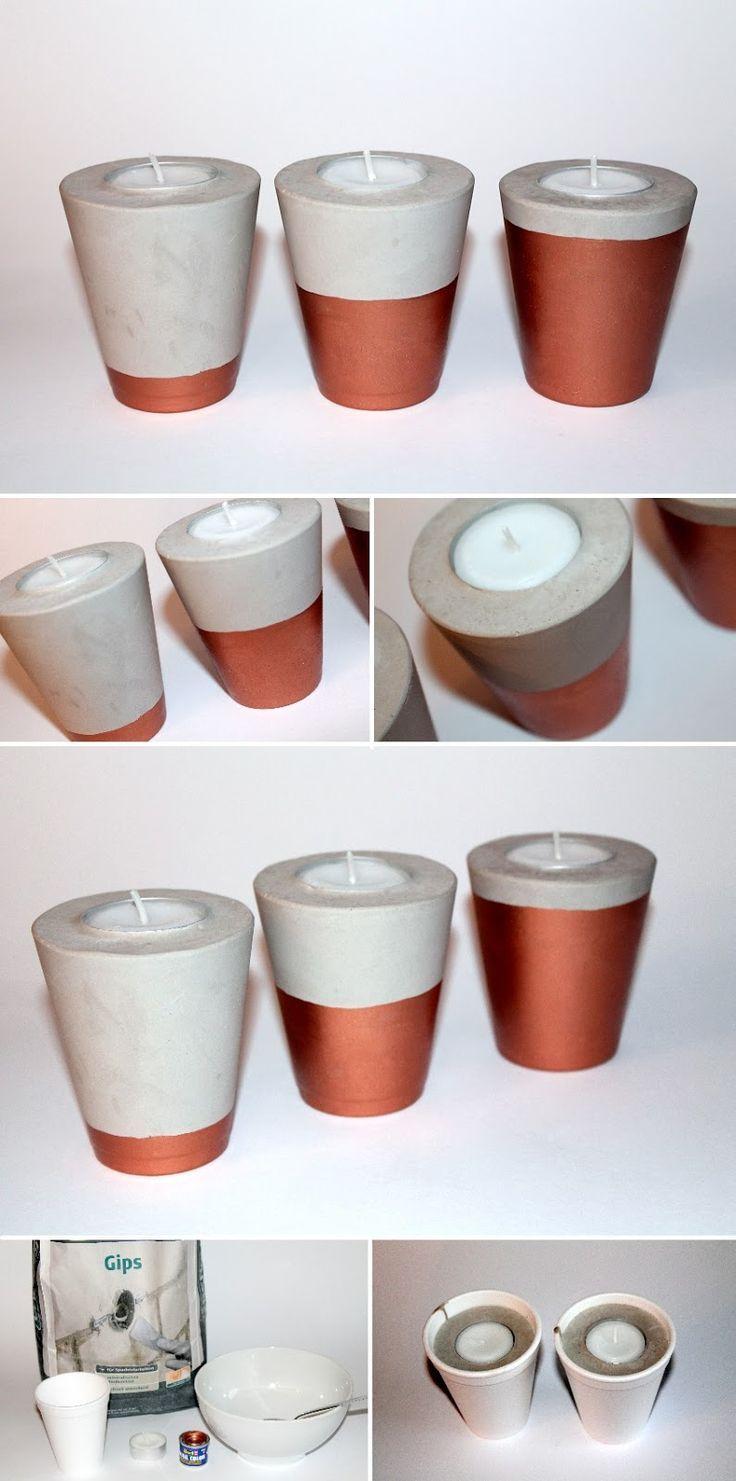 DIY Gips / Beton Teelichter in Kupfer schnell und einfach selber machen – perfekt als Dekoration