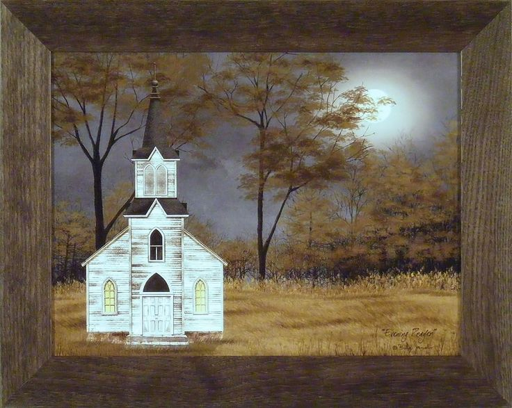 EVENING PRAYER by Billy Jacobs 16x20 FRAMED PICTURE Country Church Steeple Moon #HomeCabinDecor