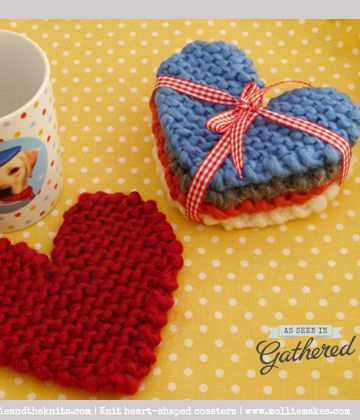 Simple #diy knit #coasters! great freebie: thanks so for sharing xox - knitted #heart