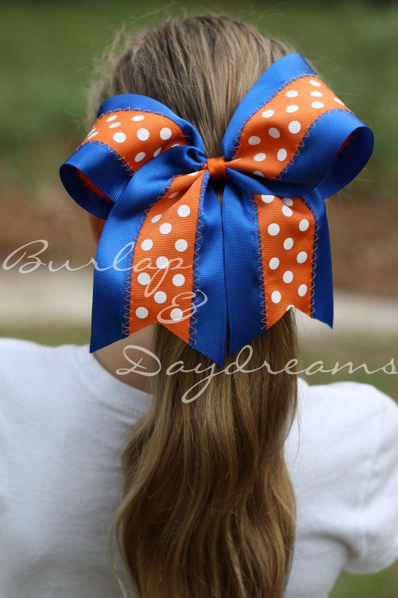 Florida Gators inspired Cheer Bow - Blue & Orange with White Polka Dots Hairbow on Etsy, $10.00