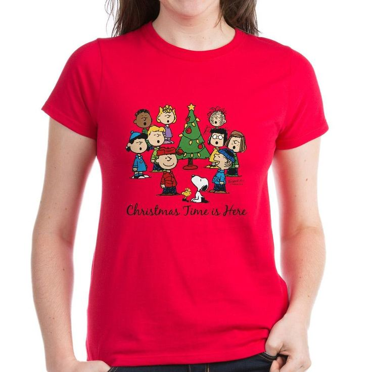 CafePress The Peanuts Gang: Christmas i Womens Dark T-Shirt