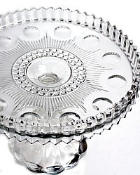 "EAPG ""Manhattan"" pattern Cake Stand made by U.S. Glass circa 1902, approx. 9.25""D x 6.5""H plate view"