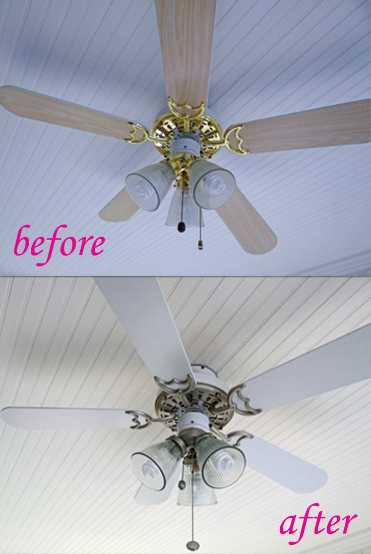 before after how to spray paint a ceiling fan for only 7 cheap. Black Bedroom Furniture Sets. Home Design Ideas