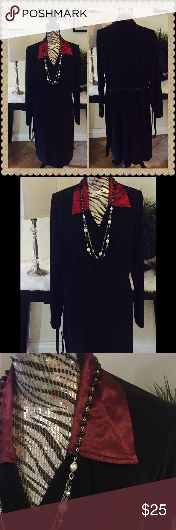 TORRID L/S wrap dress black 4X NWT Torrid L/S wrap dress black 4X. It is new with tag. It's very stretch material 92% polyester 8% spandex, gladly bundle but I don't trade ( necklace not included) torrid Dresses Long Sleeve