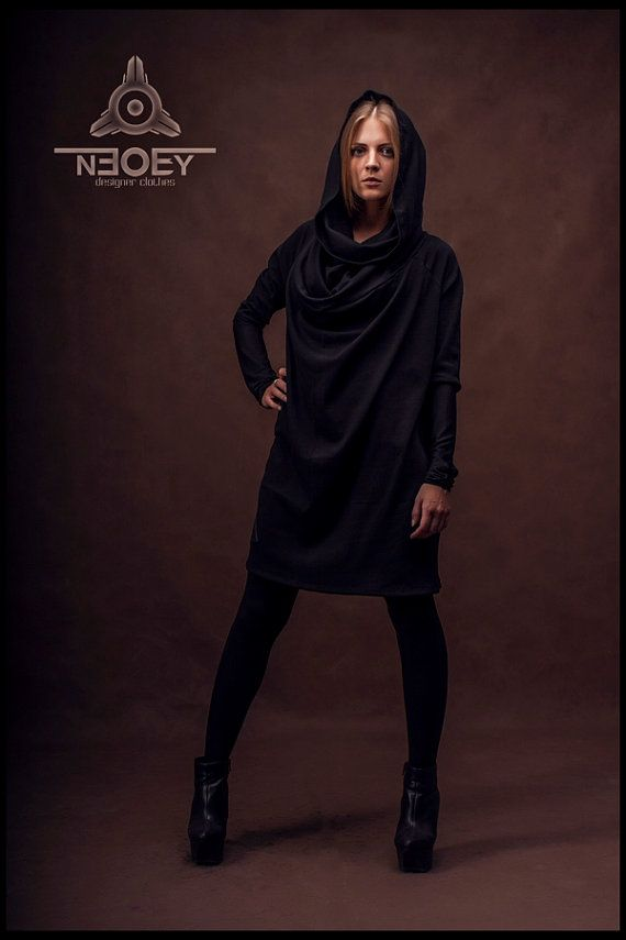 Black Friday!  10% discount on all products in black colour. Black wide Jersey Dress Kiri by NEOBY Design. hoodies от NEOBYdc