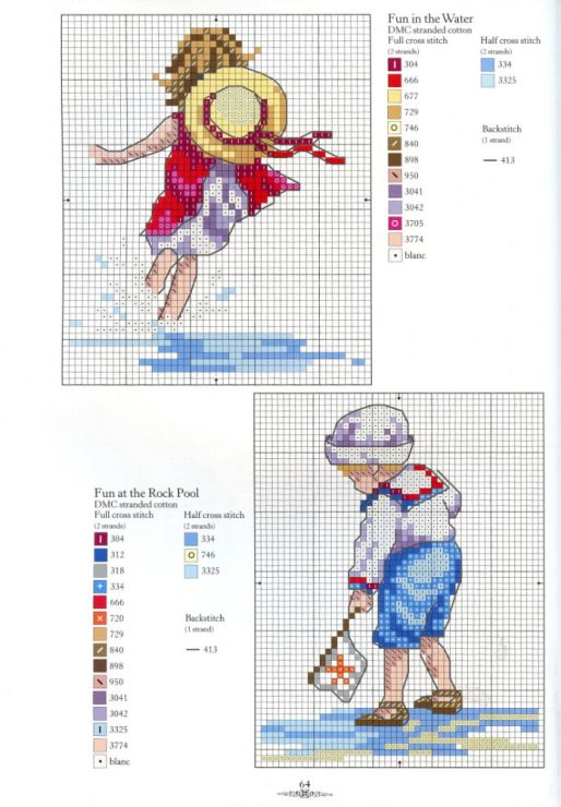 Children at Beach Cross Stitch Patterns free