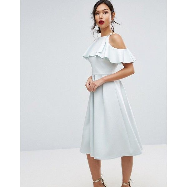 ASOS Scuba Ruffle Top Midi Prom Dress (€27) found on Polyvore featuring women's fashion, dresses, blue, night out dresses, blue prom dresses, blue party dress, blue midi dress and cold shoulder dresses