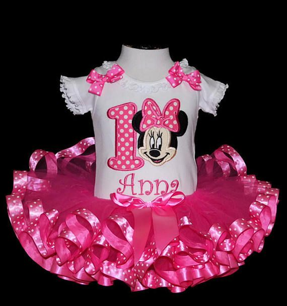 Adorable Minnie Mouse Birthday Tutu Outfit ribbon trim tutu