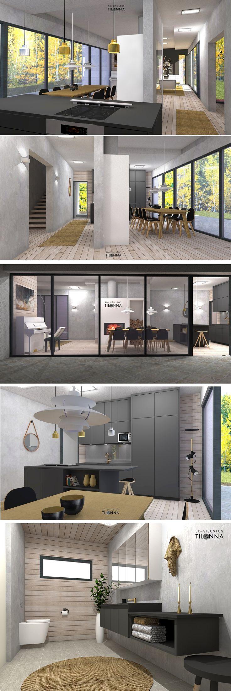 uudiskohteen 3D-sisustussuunnittelu, 3D-visualisointi / olohuone ja ruokailutila, seinä-wc, lankkulattia, betoniseinä, hiilenharmaa keittiö, mustat/ hiilenharmaat wc:n kiintokalusteet, kultaiset ja kromiset valaisimet, ph 5 valaisin, musta taustaseinä, paneeliseinä, ohrankeltainen matto, tamminen ruokapöytä ja mustat tuolit, kultaiset hanat, piano ruokailutilassa / 3D-sisustus Tilanna