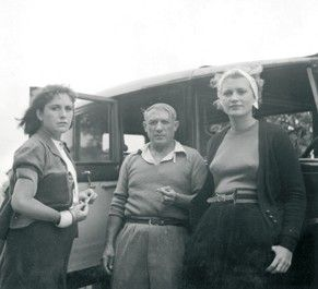 Pablo Picasso - Photos - with Dora Maar and Lee Miller, Mougins, 1937 year