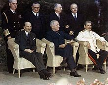British Prime Minister Clement Attlee, U.S. President Harry S. Truman and Joseph Stalin at the Potsdam Conference, July 1945.