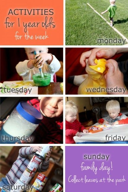 Toddler activities for 1 year olds to do this week. Tuesday looks like fun!: