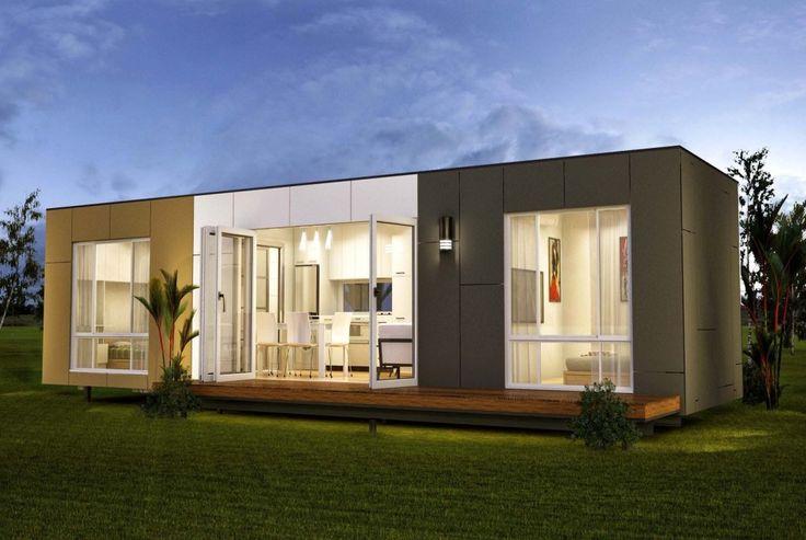 Colección de minicasas realizadas con contenedores modulares. Casas…