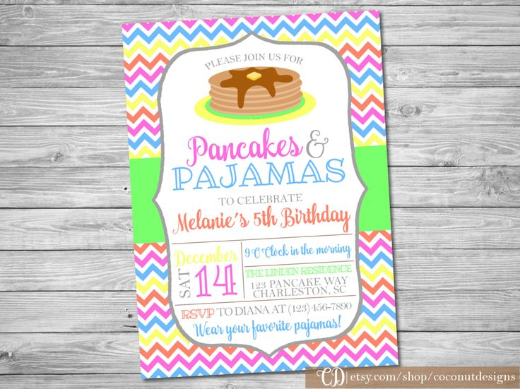 Pancakes and Pajamas Invitation / Pancakes and Pajamas Invitation / Pancakes and Pajamas Party / Breakfast Birthday / Digital File by CoconutDesigns on Etsy https://www.etsy.com/uk/listing/477185354/pancakes-and-pajamas-invitation-pancakes