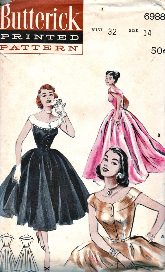 SALE Vintage 1950s Butterick Pattern 6988 GLAMOROUS by anne8865